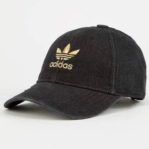 Adidas   denim embroidered trefoil logo hat  